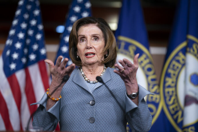 Speaker of the House Nancy Pelosi, D-Calif., speaks during a news conference on Capitol Hill in Washington, Thursday, Feb. 27, 2020. Democrats are increasingly anxious about Bernie Sanders and the damage they feel the party's presidential front-runner could do to their prospects of retaining House control. There are also growing questions about what, if anything, Speaker Nancy Pelosi should do about it. (AP Photo/J. Scott Applewhite)