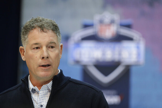 New York Giants head coach Pat Shurmur speaks during a press conference at the NFL football scouting combine, Wednesday, Feb. 27, 2019, in Indianapolis. (AP Photo/Darron Cummings)
