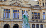 FILE - In this April, 10, 2015, file photo a statue of Britain's Queen Victoria stands outside the Port Elizabeth city library, South Africa after being splashed with green paint. New campaigns in the U.S. and Europe to pull down monuments to slave traders and colonial rulers are now following Africa's lead. (AP Photo/Michael Sheehan, File)