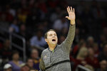 LSU head coach Will Wade yells from the bench during the first half of an NCAA college basketball game against Southern California, Saturday, Dec. 21, 2019, in Los Angeles. (AP Photo/Marcio Jose Sanchez)