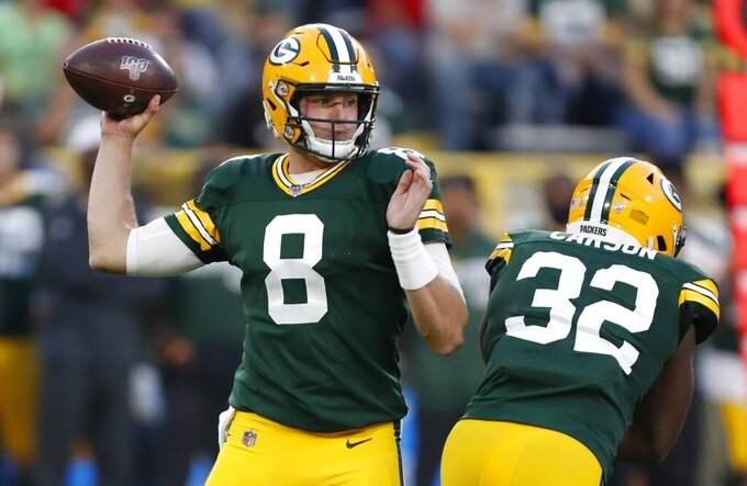 Green Bay Packers' Tim Boyle throws during the first half of a preseason NFL football game against the Kansas City Chiefs Thursday, Aug. 29, 2019, in Green Bay, Wis. (AP Photo/Matt Ludtke)