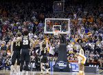 Purdue's Carsen Edwards shoots a free throw in the final seconds of the second half of a men's NCAA Tournament college basketball South Regional semifinal game against Tennessee Thursday, March 28, 2019, in Louisville, Ky. (AP Photo/Michael Conroy)