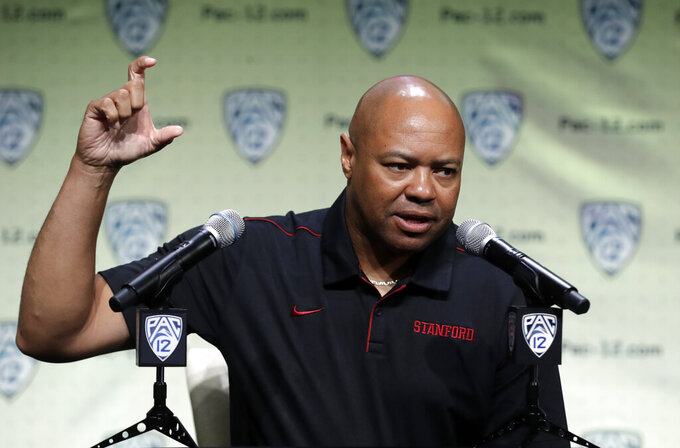 FILE - In this July 24, 2019, file photo, Stanford head coach David Shaw answers questions during the Pac-12 Conference NCAA college football Media Day in Los Angeles. (AP Photo/Marcio Jose Sanchez, File)