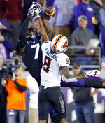 Oklahoma State cornerback Rodarius Williams (8) defends on a pass to TCU wide receiver John Stephens Jr. (7) during the fourth quarter of an NCAA college football game in Fort Worth, Texas, Saturday, Nov. 24, 2018. Williams was called for pass interference. (Tom Fox/The Dallas Morning News via AP)