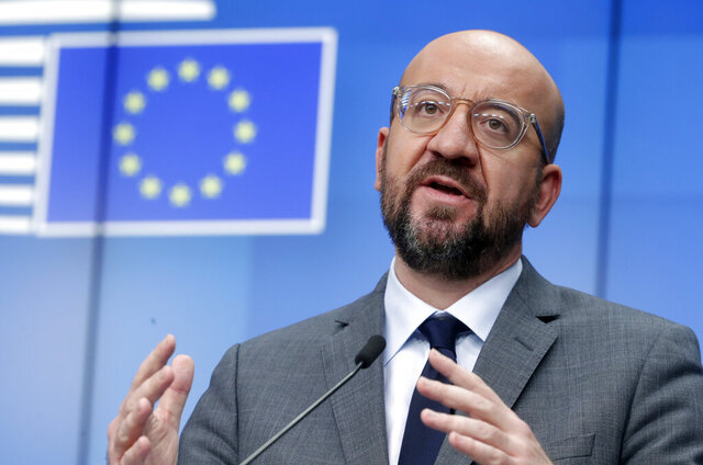 European Council President Charles Michel speaks during a news conference at the end of a EU summit video conference at the European Council headquarters in Brussels, Thursday, Jan. 21, 2021. European Union leaders assessed more measures to counter the spread of coronavirus variants during a video summit Thursday as the bloc's top disease control official said urgent action was needed to stave off a new wave of hospitalizations and deaths. (Olivier Hoslet, Pool Photo via AP)