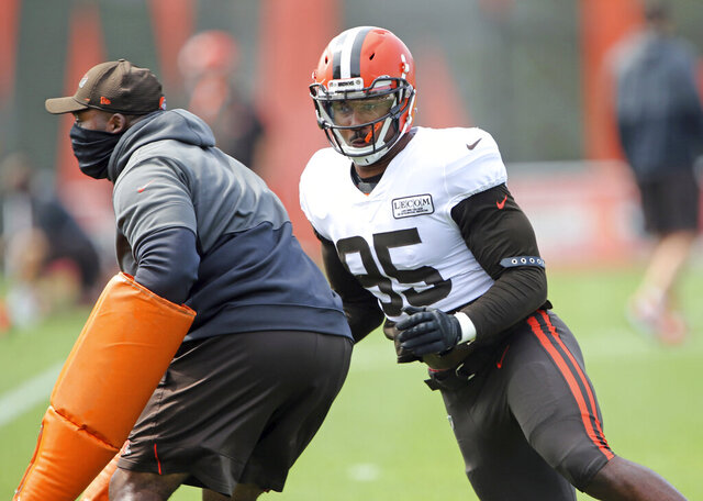 Cleveland Browns defensive end Myles Garrett works on skills during position drills at practice Tuesday, Sept. 1, 2020, in Berea, Ohio. (Joshua Gunter/Cleveland.com via AP)