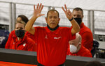 Houston head coach Kelvin Sampson calls a play against Memphis during the second half of an NCAA college basketball game in the semifinal round of the American Athletic Conference men's tournament Saturday, March 13, 2021, in Fort Worth, Texas. (AP Photo/Ron Jenkins)