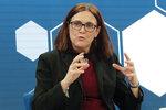 European Union Trade Commissioner Cecila Malmstroem attends a session of the World Economic Forum in Davos, Switzerland, Thursday, Jan. 24, 2019. (AP Photo/Markus Schreiber)