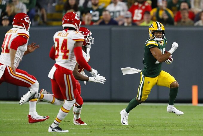 Green Bay Packers' Darrius Shepherd runs during the second half of a preseason NFL football game against the Kansas City Chiefs Thursday, Aug. 29, 2019, in Green Bay, Wis. (AP Photo/Matt Ludtke)