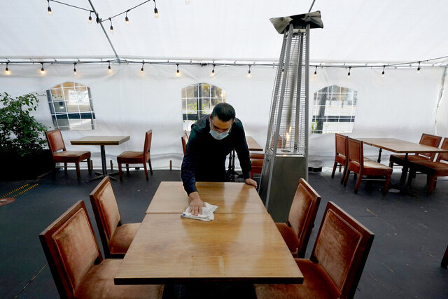 Fabian Rodriguez cleans a table in an outdoor tented dining area of Tequila Museo Mayahuel restaurant, in Sacramento, Calif., Thursday, Nov. 19, 2020. California's unemployment rate has dipped below 10% for the first time since March. A new report from the state Employment Development Department shows California added 145,500 jobs in October as the state's unemployment rate fell to 9.3%. Those gains could be short lived as a surge of cases has already prompted new restrictions on businesses with most restaurants ordered to halt indoor dining and impose a 10 p.m. curfew in most areas that begins Saturday. (AP Photo/Rich Pedroncelli)