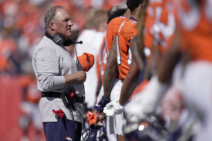 Denver Broncos head coach Vic Fangio prior to an NFL football game against the New York Jets Sunday, Sept. 26, 2021, in Denver. (AP Photo/Jack Dempsey)