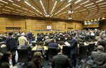 General view of the board of governors meeting of the International Atomic Energy Agency, IAEA, at the International Center in Vienna, Austria, Monday, Sept. 9, 2019. (AP Photo/Ronald Zak)