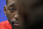 Bam Adebayo, of the Miami Heat, listens to a question at the NBA All-Star basketball game media day, Saturday, Feb. 15, 2020, in Chicago.   (AP Photo/Nam Y. Huh)