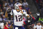 New England Patriots quarterback Tom Brady (12) looks to throw against the Houston Texans during the first half of an NFL football game Sunday, Dec. 1, 2019, in Houston. (AP Photo/Eric Christian Smith)