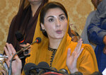 Maryam Nawaz, daughter of former Pakistani prime minister Nawaz Sharif and leader of an opposition party, gives press conference regarding the arrest of her husband, Mohammad Safdar, in Karachi, Pakistan, Monday, Oct. 19, 2020. Pakistani police briefly detained Safdar, on Monday, accusing him of leading a crowd in a chant against the military at the tomb of the country's founder. (AP Photo/Fareed Khan)