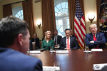 President Donald Trump, right, speaks to JUUL Labs Chief Executive Officer K.C. Crosthwaite, left, during a meeting in the Cabinet Room of the White House in Washington, Friday, Nov. 22, 2019, on youth vaping and the electronic cigarette epidemic. Trump is joined at the table by White House counselor Kellyanne Conway, second from left and Sen. Mitt Romney, R-Utah, second from right. (AP Photo/Susan Walsh)
