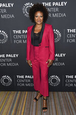 """FILE - In this Thursday, Oct. 12, 2017 file photo, Wanda Sykes attends Paley Center's LA Gala Celebrating Women in Television at the Beverly Wilshire Hotel in Beverly Hills, Calif. """"All in the Family"""" and """"The Jeffersons"""" with stars including Woody Harrelson, Marisa Tomei, Jamie Foxx and Sykes, are coming back to TV, live and for one night only. Norman Lear, who created """"All in the Family"""" and """"The Jeffersons,"""" and Jimmy Kimmel will host the prime-time special airing live May 22, 2019, on ABC. (Photo by Richard Shotwell/Invision/AP, File)"""