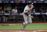 Baltimore Orioles' Mark Trumbo watches his RBI double off Tampa Bay Rays relief pitcher Hoby Milner during the ninth inning of the first baseball game of a doubleheader Tuesday, Sept. 3, 2019, in St. Petersburg, Fla. (AP Photo/Chris O'Meara)