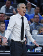 Arizona State head coach Bobby Hurley reacts during the first half of an NCAA college basketball game against UCLA in the quarterfinals of the Pac-12 men's tournament Thursday, March 14, 2019, in Las Vegas. (AP Photo/John Locher)