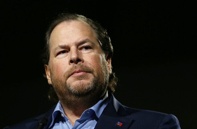 "FILE - In this photo taken Tuesday, Oct. 30, 2018, Salesforce CEO Marc Benioff speaks at a luncheon in San Francisco. In a forthcoming book, ""Trailblazer,"" due out Oct. 15, 2019, Benioff calls on activist CEOs to lead a revolution that puts the welfare of people and the planet ahead of profits. (AP Photo/Eric Risberg, File)"