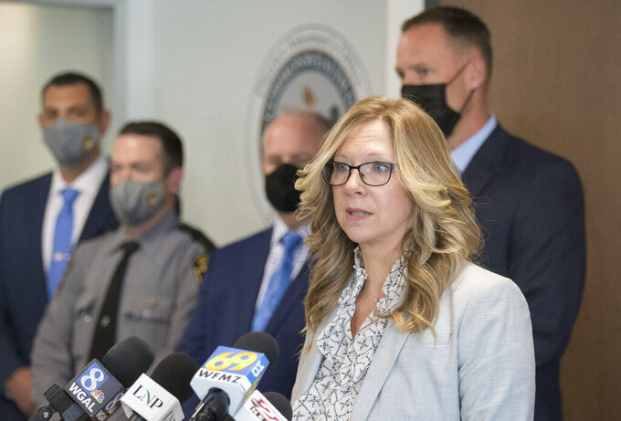 FILE—In this file photo from April 22, 2021, Lancaster County District Attorney Heather Adams talks about the recovery of human remains of Linda Stoltzfoos during a news conference in Lancaster, Pa. Justo Smoker, who led authorities to the remains of the young Amish woman, pleaded guilty on Friday, July 23. 2021, to kidnapping and killing her. (Blaine Shahan/LNP/LancasterOnline via AP, FILE)