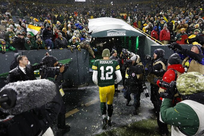Green Bay Packers' Aaron Rodgers walks off the field after an NFL football game against the Carolina Panthers Sunday, Nov. 10, 2019, in Green Bay, Wis. The Packers won 24-16. (AP Photo/Mike Roemer)