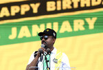 Ethiopian Prime Minister Abiy Ahmed Ali, addresses supporters at the African National Congress (ANC) 108th birthday celebrations in Kimberley, South Africa, Saturday, Jan. 11, 2020. (AP Photo)