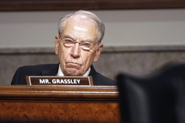 Sen. Chuck Grassley, R-Iowa, questions former Deputy Attorney General Rod Rosenstein testifies before a Senate Judiciary Committee hearing on Capitol Hill in Washington, Wednesday, June 3, 2020. (Greg Nash/Pool via AP)