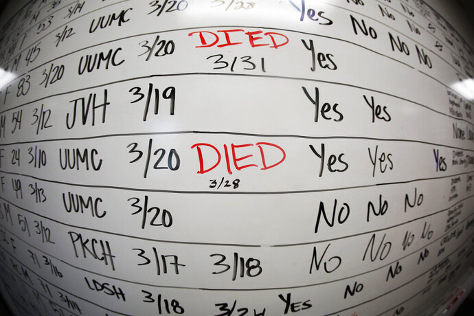 FILE - This Wednesday, May 13, 2020, file photo made with a fisheye lens shows a list of the confirmed COVID-19 cases in Salt Lake County early in the coronavirus pandemic at the county health department in Salt Lake City. Health officials later moved to tracking the cases in an online database, but the white board remains in the office as a reminder of how quickly the coronavirus spread. (AP Photo/Rick Bowmer)