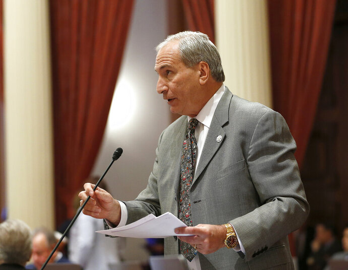 FILE - In this May 20, 2019 file photo, State Sen. Jeff Stone, R-Temecula, addresses the state Senate in Sacramento, Calif. Stone says he will resign to accept a job with the U.S. Department of Labor. Sen. Jeff Stone announced Wednesday, Oct. 30, 2019, that President Donald Trump has appointed him to be the department's western regional director. He will resign from the state Senate on Friday. (AP Photo/Rich Pedroncelli, File)