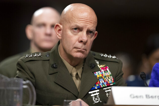 FILE - In this Dec. 3, 2019 file photo, Marine Corps Commandant Gen. David Berger testifies during a hearing of the Senate Armed Services Committee in Washington, on Capitol Hill. (AP Photo/Alex Brandon)