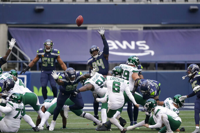 New York Jets kicker Sergio Castillo (6) misses a field goal attempt against the Seattle Seahawks during the first half of an NFL football game, Sunday, Dec. 13, 2020, in Seattle. (AP Photo/Ted S. Warren)
