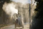 Voluntary firefighters take part in a fumigation initiative as a precaution against the spread of the new coronavirus, on the outskirts of Asuncion, Paraguay, Saturday, March 28, 2020. (AP Photo/Jorge Saenz)