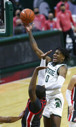 Michigan State forward Aaron Henry (0) takes a shot against Ohio State during the second half of an NCAA college basketball game Thursday, Feb. 25, 2021, in East Lansing, Mich. (AP Photo/Duane Burleson)