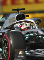 Mercedes driver Lewis Hamilton of Britain during the second practice session ahead of the Belgian Formula One at Spa-Francorchamps, Belgium, Friday, Aug. 30, 2019. The Belgian Formula One race will take place on Sunday. (AP Photo/Francisco Seco)