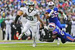 Philadelphia Eagles' Miles Sanders runs the ball during the first half of an NFL football game against the Buffalo Bills, Sunday, Oct. 27, 2019, in Orchard Park, N.Y. (AP Photo/John Munson)