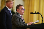 In this July 8, 2019, photo, President Donald Trump listens as Environmental Protection Agency Administrator Andrew Wheeler speaks during an event on the environment in the East Room of the White House in Washington. (AP Photo/Evan Vucci)