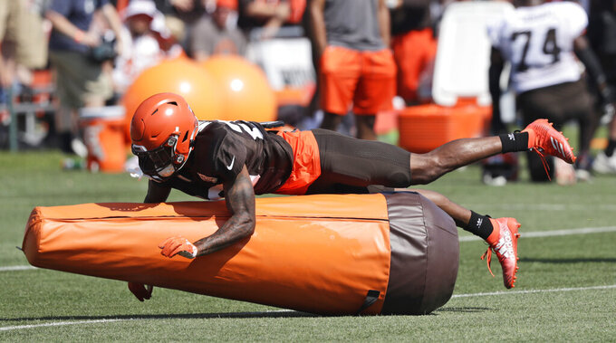 Cleveland Browns cornerback Greedy Williams runs through a drill during practice at the NFL football team's training camp facility, Saturday, July 27, 2019, in Berea, Ohio. (AP Photo/Tony Dejak)
