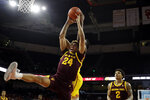 Arizona State forward Jalen Graham (24) grabs a rebound against Southern California during the first half of an NCAA college basketball game Saturday, Feb. 29, 2020, in Los Angeles. (AP Photo/Marcio Jose Sanchez)