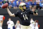 Vanderbilt quarterback Kyle Shurmur passes against Florida in the first half of an NCAA college football game Saturday, Oct. 13, 2018, in Nashville, Tenn. (AP Photo/Mark Humphrey)