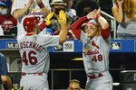 St. Louis Cardinals' Harrison Bader (48) celebrates with Paul Goldschmidt (46) after Goldschmidt hit a home run during the seventh inning of a baseball game against the New York Mets Wednesday, Sept. 15, 2021, in New York. (AP Photo/Frank Franklin II)