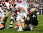 Colorado defensive lineman Mustafa Johnson (34) sacks Oregon State quarterback Jack Colletto (12) during the first half of an NCAA college football game, Saturday, Oct. 27, 2018, in Boulder, Colo. (AP Photo/Jack Dempsey)