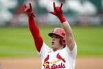 St. Louis Cardinals' Harrison Bader celebrates after hitting a solo home run during the fourth inning of a baseball game against the Milwaukee Brewers Sunday, Sept. 27, 2020, in St. Louis. (AP Photo/Jeff Roberson)