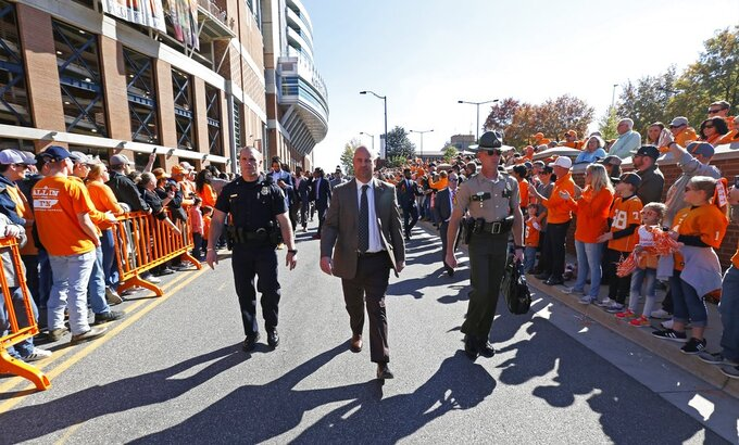 Tennessee head coach Jeremy Pruitt is seen during the Vol Walk before an NCAA college football game against Charlotte Saturday, Nov. 3, 2018, in Knoxville, Tenn. (AP Photo/Wade Payne)