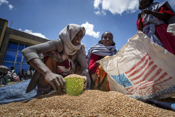 FILE - In this Saturday, May 8, 2021 file photo, an Ethiopian woman scoops up portions of wheat to be allocated to each waiting family after it was distributed by the Relief Society of Tigray in the town of Agula, in the Tigray region of northern Ethiopia. The United States warned late Thursday, Aug. 19, 2021 that food aid will run out this week for millions of hungry people under a blockade imposed by Ethiopia's government on the embattled Tigray region. (AP Photo/Ben Curtis, File)