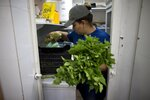 A volunteer picks out vegetables donated by citizens whose food will spoil due to their refrigerators going without power during a blackout in Caracas, Venezuela, Monday, March 11, 2019. Hachebistro restaurant lent its kitchen to make