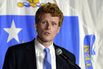 U.S. Rep. Joe Kennedy III speaks outside his campaign headquarters in Watertown, Mass., after conceding defeat to incumbent U.S. Sen. Edward Markey, Tuesday, Sept. 1, 2020, in the Massachusetts Democratic Senate primary. (AP Photo/Charles Krupa)