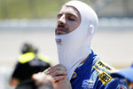 Alexander Rossi gets set for qualifying for an IndyCar Series auto race Friday, July 19, 2019, at Iowa Speedway in Newton, Iowa. (AP Photo/Charlie Neibergall)