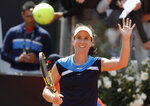 Johanna Konta of Britain celebrates after winning a semifinal match against Kiki Bertens of the Netherlands at the Italian Open tennis tournament, in Rome, Saturday, May 18, 2019. (AP Photo/Andrew Medichini)