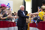 Bernie Sanders greets supporters at a rally in North Charleston, S.C., Thursday, March 14, 2019. South Carolina gave Bernie Sanders the cold shoulder in 2016. Four years and several visits later, Sanders hopes the state is ready to warm to him. (Lauren Petracca/The Post And Courier via AP)
